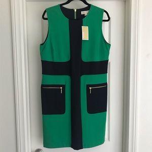 NWT Michael Kors Emerald Green/Navy Dress gold zip